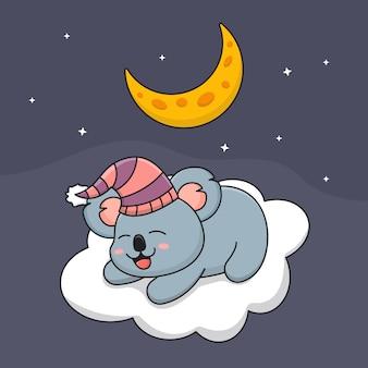 Coala dormindo feliz na nuvem sob a lua