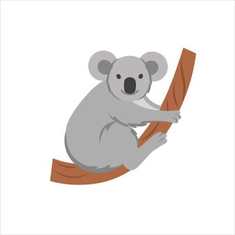 Coala dos desenhos animados sobre um fundo branco. ilustração plana dos desenhos animados para crianças.