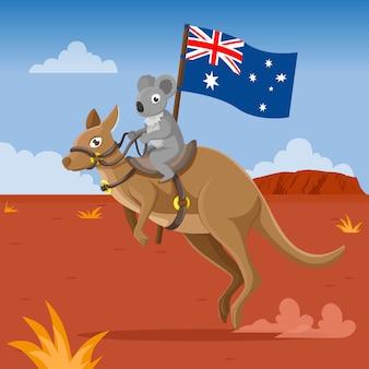 Coala e canguru carregando bandeira australiana