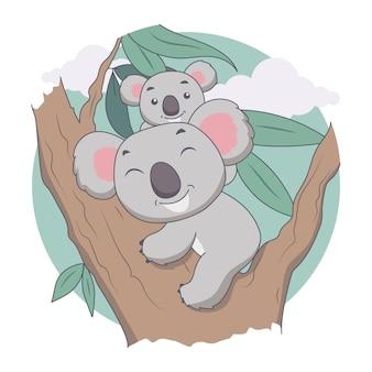 Coala e mãe na árvore