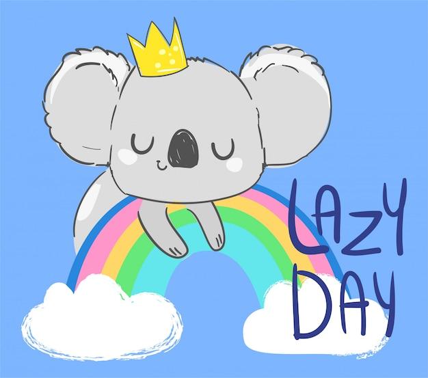 Coala fofa em uma coroa em um arco-íris na ilustração azul