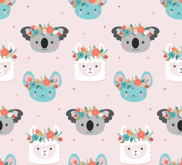 Coala fofa, lhama e cabeças de rato com padrão sem emenda de coroa de flores
