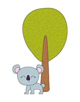 Coala fofo animal com planta de árvore
