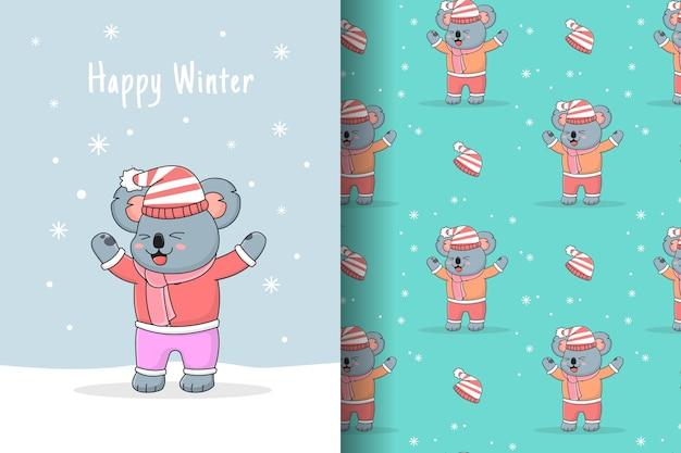 Coala fofo brincando com um cartão e um padrão de neve sem costura