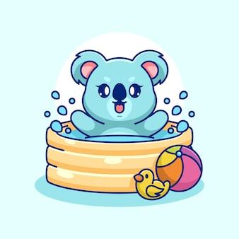 Coala fofo brincando em uma piscina inflável