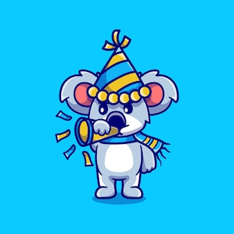 Coala fofo celebra o ano novo tocando a trombeta