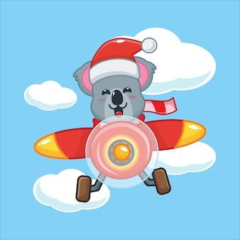 Coala fofo com chapéu de papai noel voar com avião ilustração fofa dos desenhos animados de natal