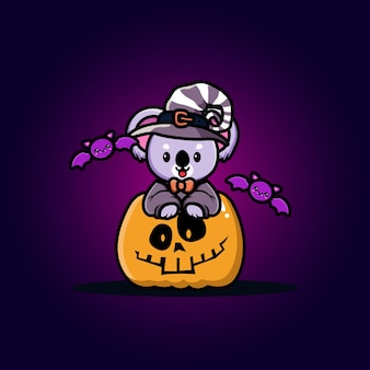 Coala fofo com desenho de abóbora de halloween