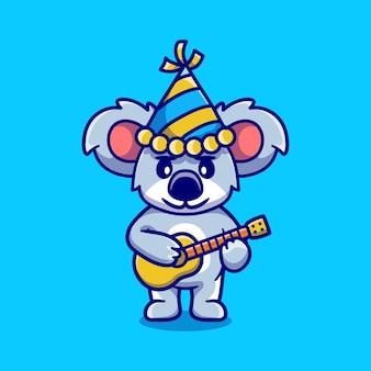 Coala fofo comemorando ano novo com ilustração de guitarra