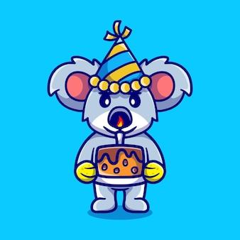Coala fofo comemorando feliz ano novo ou aniversário