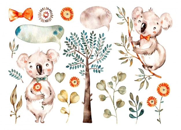 Coala fofo de bebê. berçário em aquarela dos desenhos animados animais australianos, árvores tropicais, folhas.