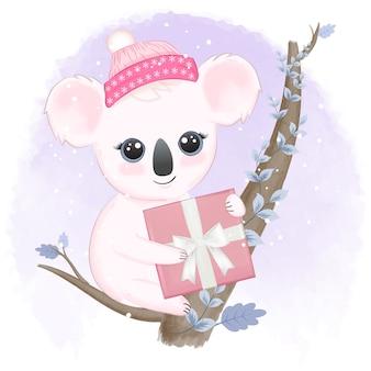 Coala fofo e caixa de presente na árvore no inverno