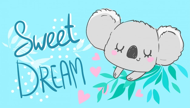 Coala fofo e folhas. coração rosa bela impressão infantil, ilustração animal mão desenhada