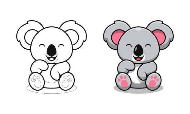 Coala fofo está sentado com desenhos para colorir para crianças
