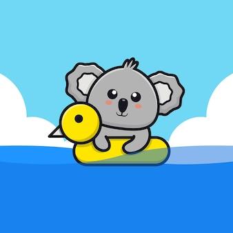 Coala fofo nadando com ilustração dos desenhos animados do anel de natação
