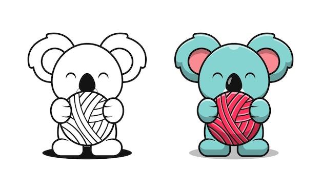Coala fofo segurando uma bola de desenhos animados para colorir para crianças