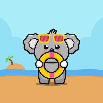 Coala fofo segurar anel de natação cartoon ilustração animal conceito de verão