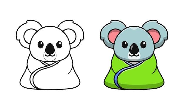 Coala fofo vestindo um cobertor de desenhos animados para colorir para crianças