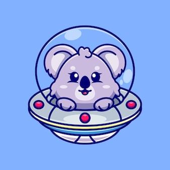 Coala fofo voando com uma nave espacial desenho animado ovni
