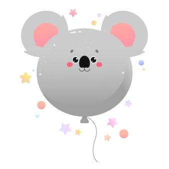 Coala kawaii fofo de balão. animal isolado