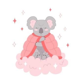 Coala se cobriu com um cobertor e dorme em uma nuvem. ilustração de animais bebês para o berçário