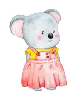Coala vestindo roupas. ilustração das crianças de um animal da selva em um vestido. pintura em aquarela isolada