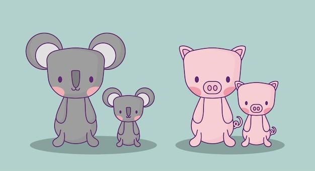 Coalas bonitos e porcos sobre o fundo azul, projeto colorido. ilustração vetorial