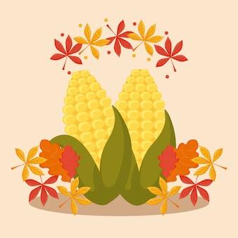Cob com folhas para o dia de ação de graças