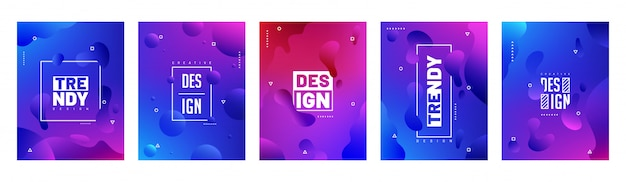 Cobertura colorida na moda definida em cinco opções de cores diferentes.