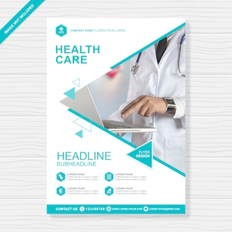 Cobertura de cuidados de saúde a4 modelo de design de folheto