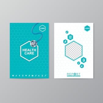 Cobertura de cuidados de saúde e médica a4 modelo de design de relatório