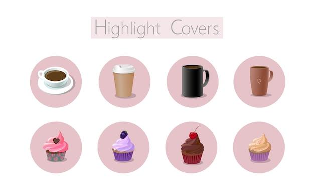 Cobertura de mídia social 3d realista de sobremesas de café