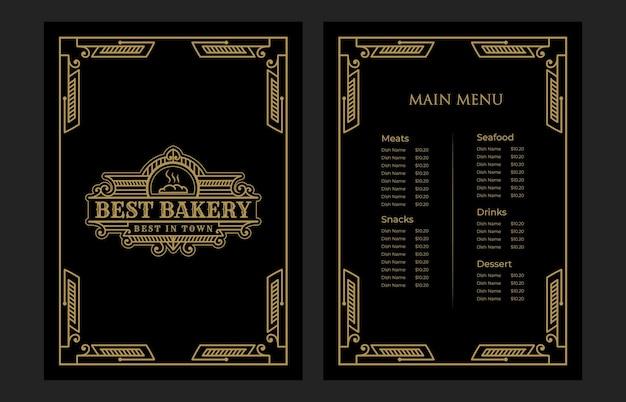 Cobertura de modelo de cartão de menu de comida de padaria vintage luxuosa com logotipo para hotel café bar café