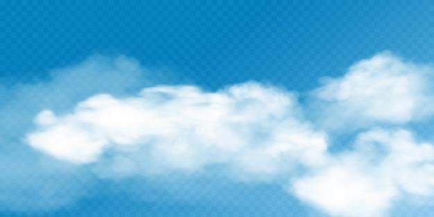 Cobertura de nuvem cumulus branca realista sobre fundo transparente. ilustração de 3d fumaça ou névoa. elemento de design de névoa natural