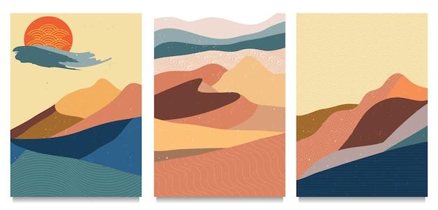 Cobertura de paisagem de montanha abstrata