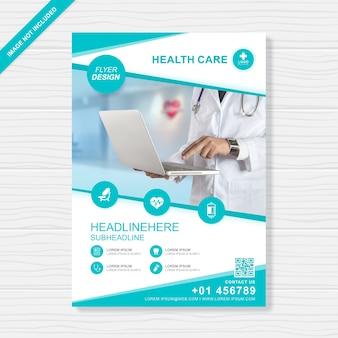 Cobertura de saúde e médica a4 modelo de design de folheto