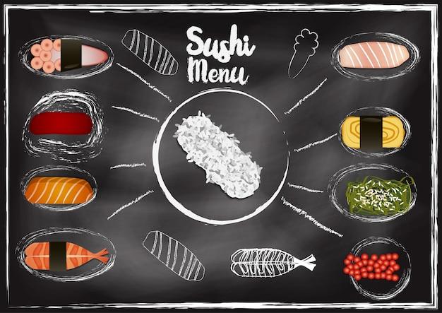 Cobertura de sushi com fundo de quadro de giz