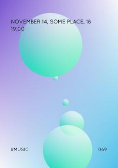 Cobertura holográfica com fluido radial. forma geométrica em fundo gradiente. modelo de hipster moderno para cartaz, apresentação, banner, panfleto, relatório, folheto. cobertura holográfica mínima, cores neon.