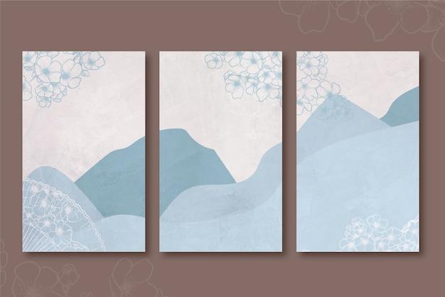 Cobertura japonesa minimalista das colinas e montanhas azuis