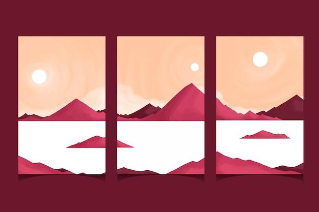 Coberturas de paisagens mínimas em aquarela