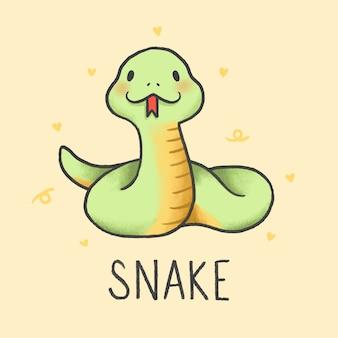 Cobra bonito dos desenhos animados mão desenhada estilo