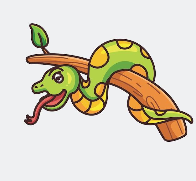 Cobra bonito dos desenhos animados no ícone de ilustração vetorial de galho de árvore conceito de estilo plano animal isolado