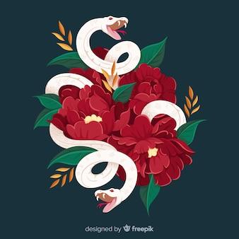 Cobra, com, flores, fundo