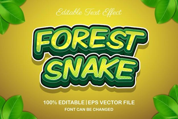 Cobra da floresta com efeito de texto editável em estilo 3d
