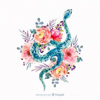Cobra de aquarela com fundo de flores