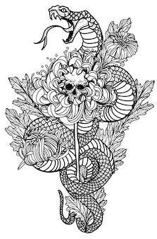 Cobra de arte de tatuagem e desenho de flores e esboços em preto e branco
