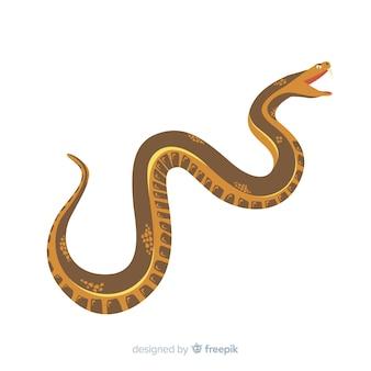 Cobra de mão desenhada atacando fundo