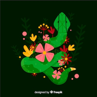 Cobra desenhada de mão com flores