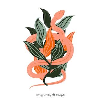 Cobra desenhada de mão com folhas de fundo