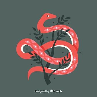 Cobra desenhada de mão com folhas